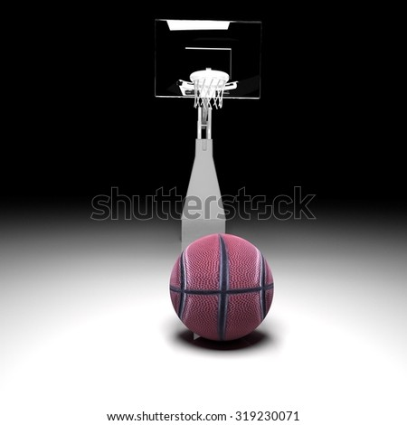 Basketball in front of a basket, White reflecting field, 3d render, square image - stock photo