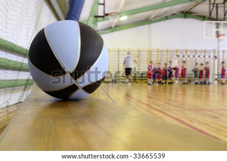 Basketball in sports hall. - stock photo