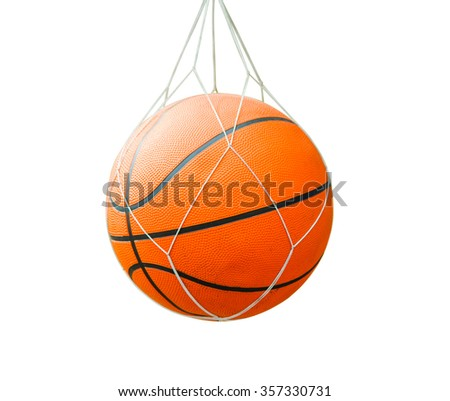 Basketball isolated on a white background as a sports and fitness symbol of a team leisure activity playing with a leather ball dribbling and passing in competition tournaments with clipping path. - stock photo