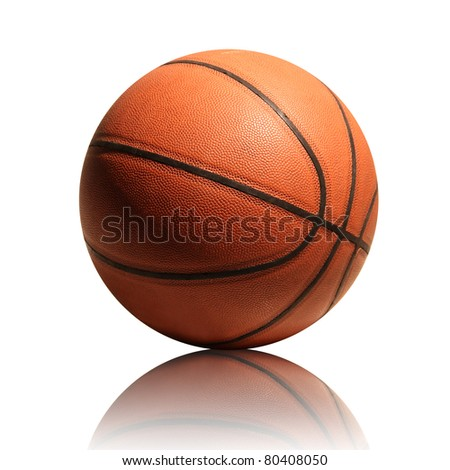 Basketball isolated on white background with reflection - stock photo