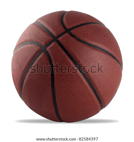basketball isolated on white with a clipping path - stock photo