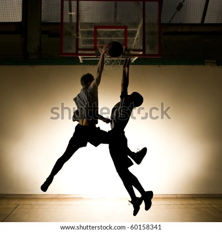 Basketball jump - black silhouette - stock photo