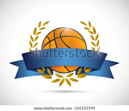 basketball laurel ribbon banner illustration design over a white background - stock photo