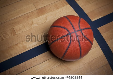 Basketball on a basketball Court - stock photo