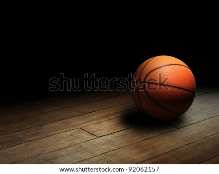 Basketball on Court - stock photo