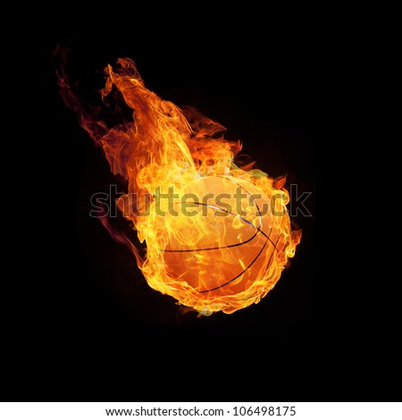Basketball on fire or burning Basketball 3D on black - stock photo