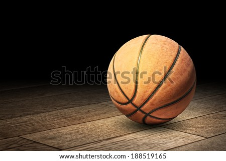 Basketball on the floor - stock photo