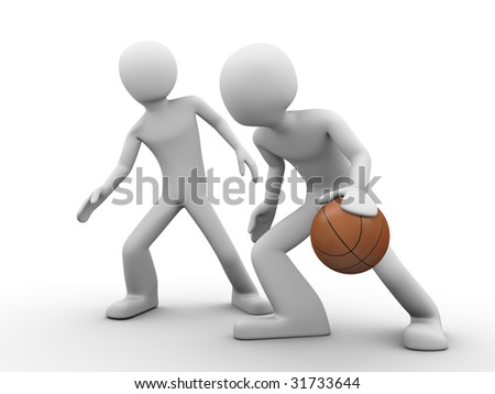 Basketball outplay - stock photo
