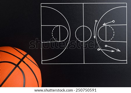 Basketball Play Strategy Drawn Out On A Chalk Board With Ball - stock photo