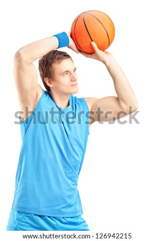 Basketball player about to score a point isolated on white background