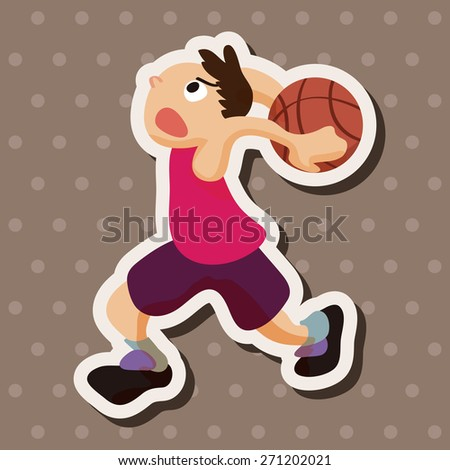 basketball player, cartoon stickers icon - stock photo