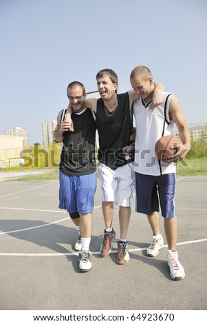 basketball player have foot trauma strech and injury at outdoor  streetbal court