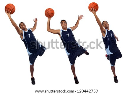 Basketball player isolated in white - stock photo