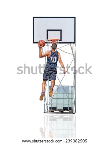 basketball player jumping to the hoop - stock photo