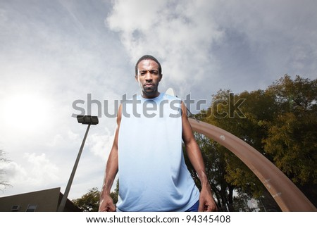 Basketball player looking down