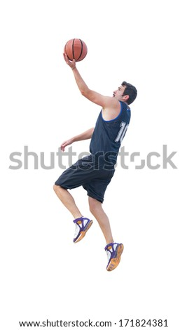 basketball player making a lay up on white background