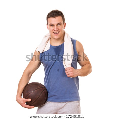 Basketball player posing, isolated on white background