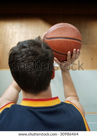 basketball player ready to shoot - stock photo