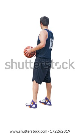 basketball player seen from behind - stock photo