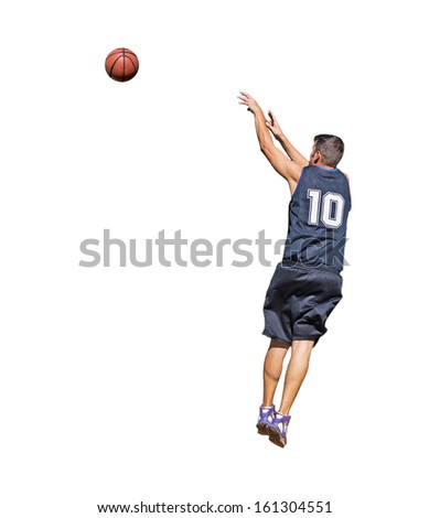 basketball player shooting the ball on white background - stock photo