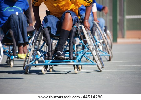 Basketball players in the wheelchairs - stock photo