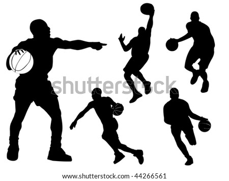Basketball players silhouette in different poses and attitudes