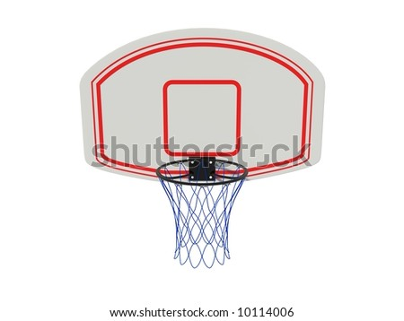 Basketball ring isolated on white - stock photo