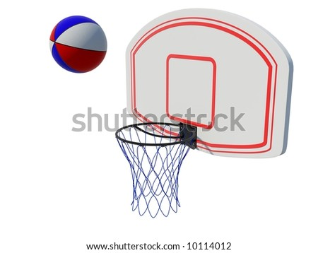 Basketball ring with ball isolated on white - stock photo