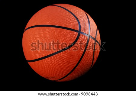 Basketball, round, orange, pebble grain, black stripes, official size and weight, black isolation