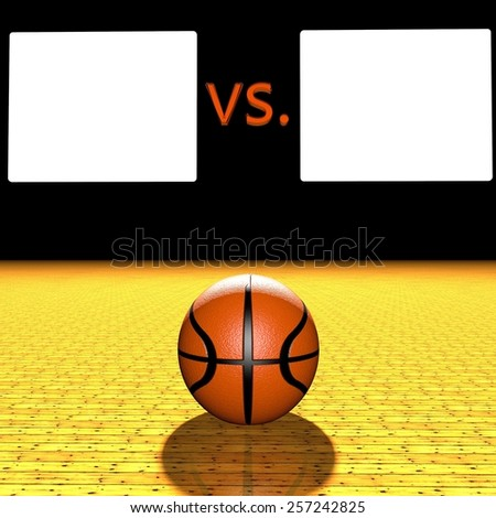 Basketball score over field, with big white boxes for team logos - stock photo