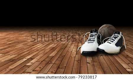 Basketball shoes and ball on the court - stock photo