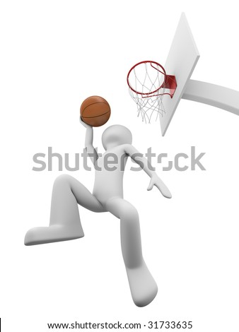 Basketball slamdunk 1 - stock photo