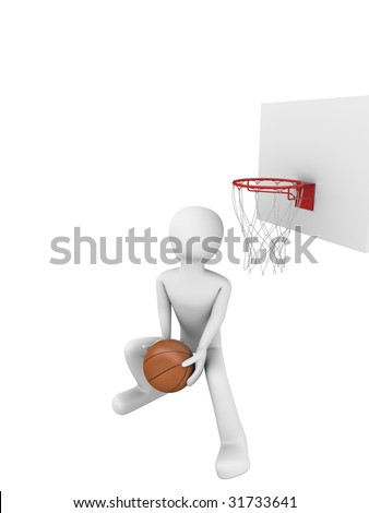 Basketball slamdunk 3 - stock photo