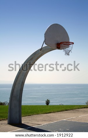 Basketball with a view - stock photo