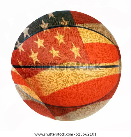 Basketball with Flag of United States of America on white background