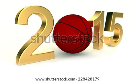 Basketball 2015 year on a White Background - stock photo