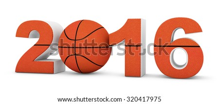 Basketball 2016 year on a White Background - stock photo