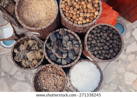 Baskets Full Of Different Spices At Deira Spice Souk. UAE Dubai - stock photo