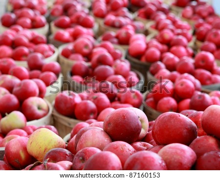 Baskets full of ripe red apples - stock photo