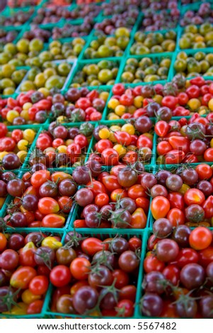 Baskets of Heirloom Cherry Tomatoes at Farmer's Market (6274) - stock photo