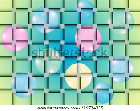Basketwork pattern.  Wicker basket.  Wicker Mat with colorful balloons. Raster version. - stock photo