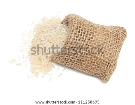 basmati rice in a miniature burlap bag isolated on white