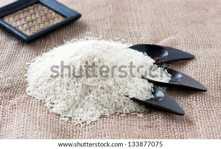 Basmati rice in a oriental table at lunh time - stock photo