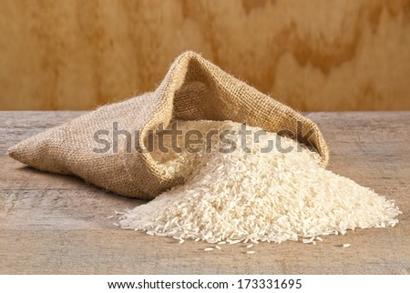 Basmati Rice Spilling from Sack - basmati rice spilling from burlap or jute sack. - stock photo