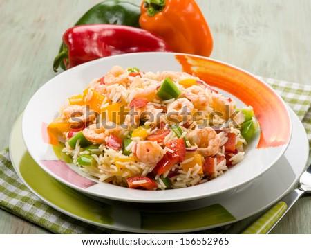 basmati rice with capsicum and shrimp - stock photo