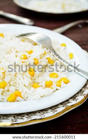 basmati rice with sweet corn - stock photo