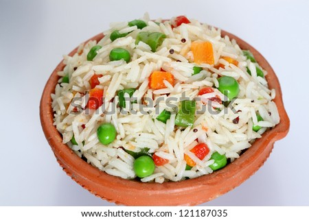 basmati,rice with vegetables, - stock photo