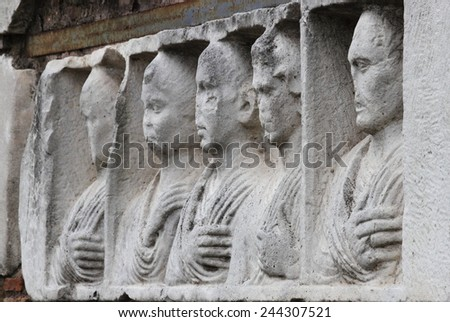 Basrelief in the Appian way of Rome, Italy - stock photo