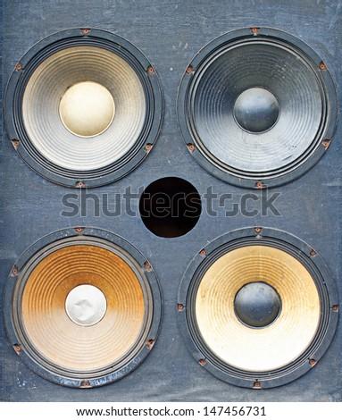 bass amplifier speaker,old speaker - stock photo