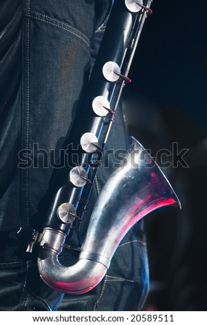 bass clarinet close up - stock photo
